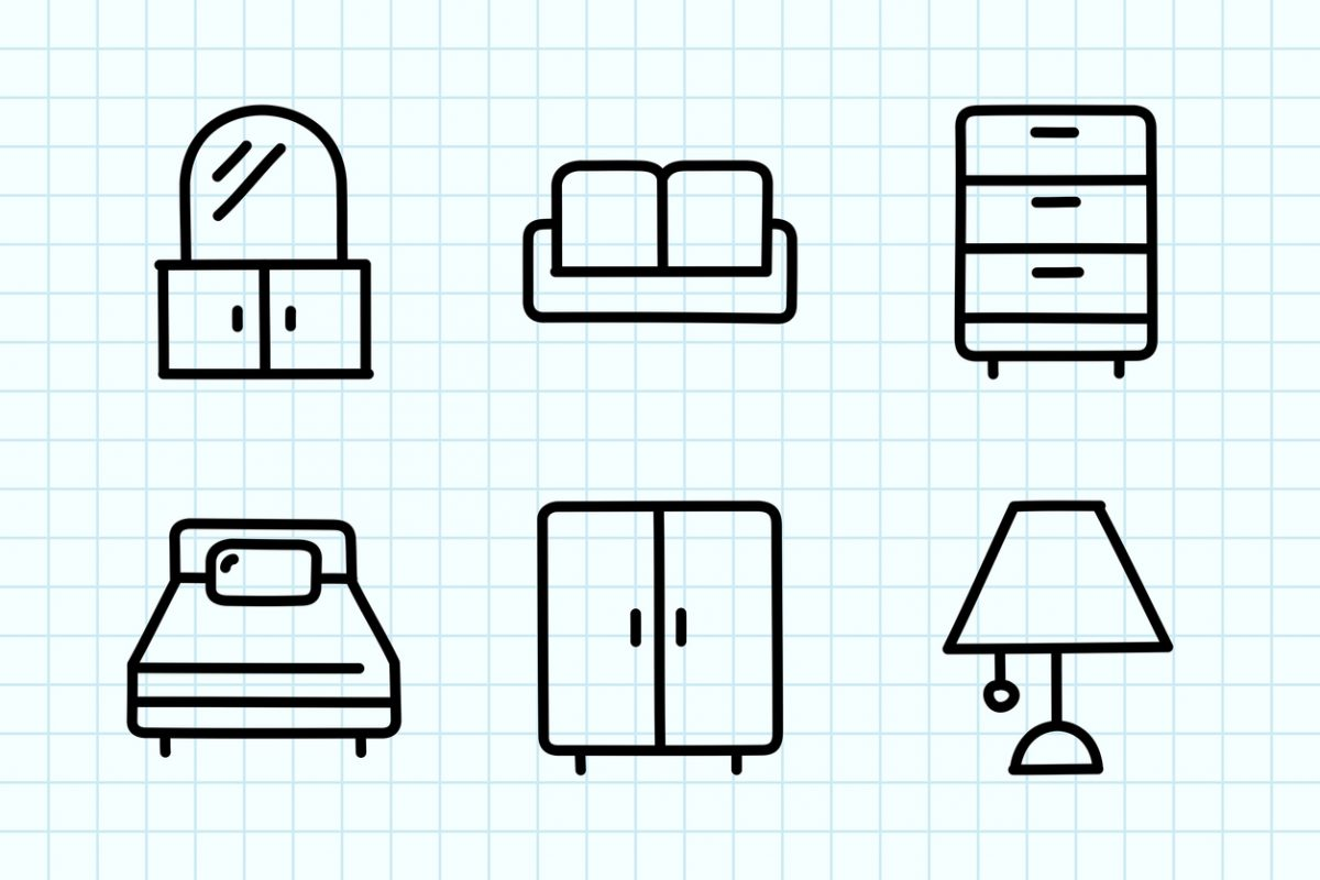 Furniture Doodle Drawing.